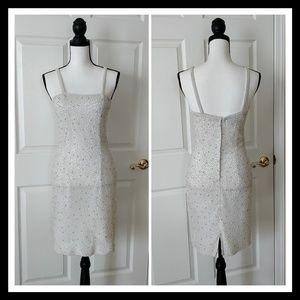 Vintage 80s Jasmine pearl embellished silk dress